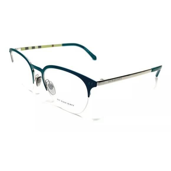 Burberry Men's Blue and Silver Square Eyeglasses